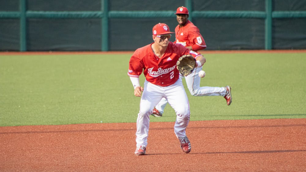 Junior Infielder Cole Barr makes the catch against Ohio State on May 24. The Hoosiers ended their losing streak Monday, defeating Ohio State 2-0 at Bart Kaufman Field.