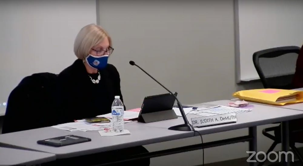 <p>Judith DeMuth, Monroe County Community School Corporation superintendent, thanks the staff members who had helped the district continue with in-person learning Nov. 17, 2020. The MCCSC board members met tonight to discuss topics regarding COVID-19 and the new superintendent contract. </p>