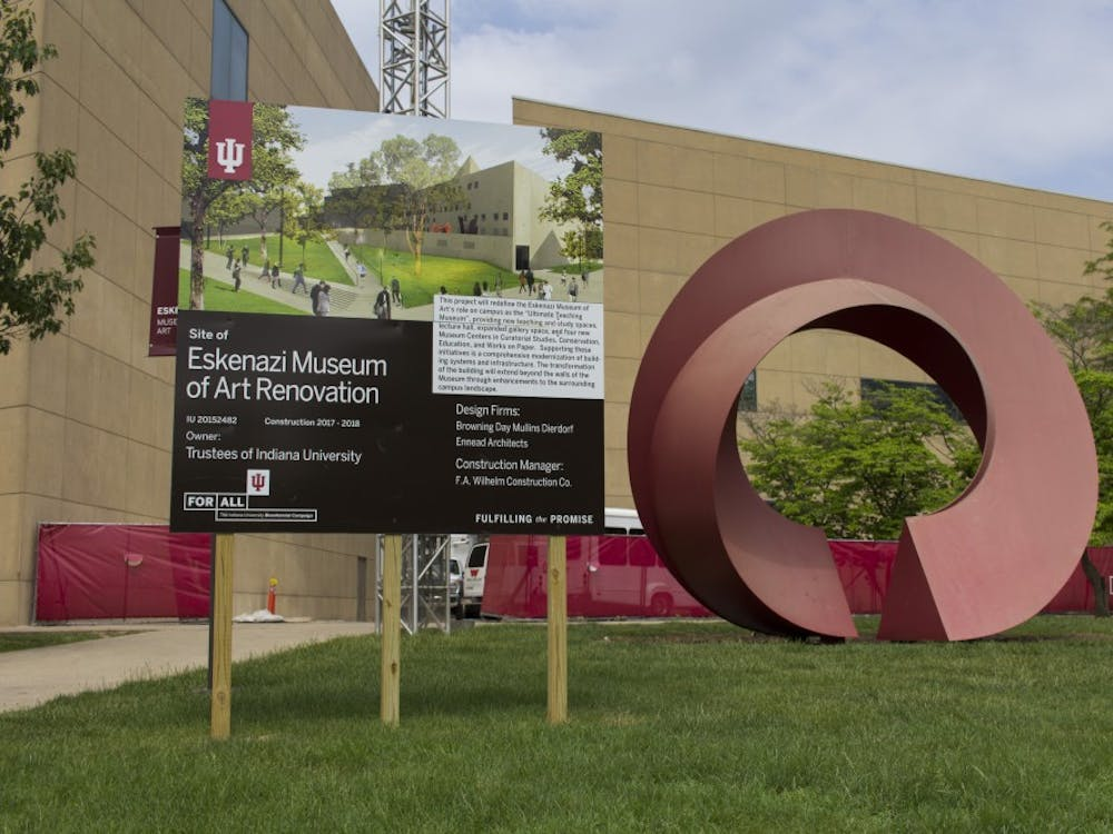 The Indiana Arc sculpture stands May 21 outside the Eskenazi Museum of Art while construction is underway inside the building.
