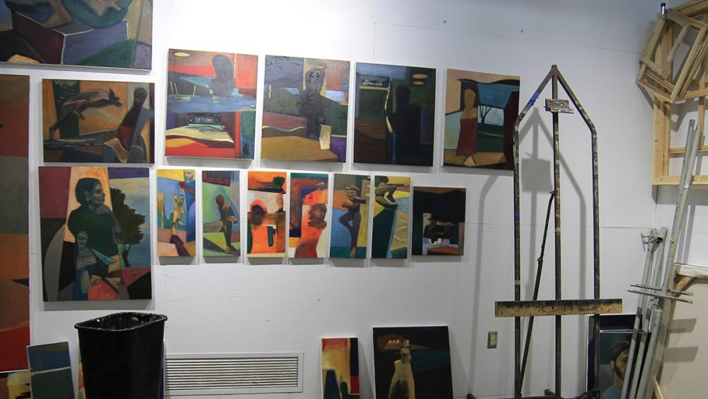 Andy Bullard, a master's of fine arts student, has his studio decorated with his art. His studio is located in the warehouse on the corner of Woodlawn Avenue and 13th Street.