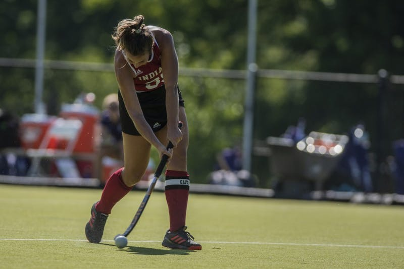 Graduate back Elle Hempt takes a shot during a match against Northwestern on Sept. 14 at the IU Field Hockey Complex. IU is 4-11 on the season.