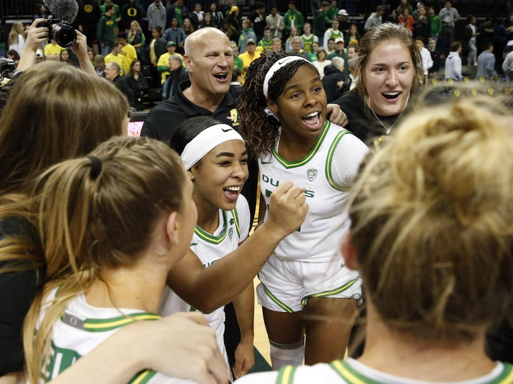Oregon's Kelly Graves, Minyon Moore, Ruthy Hebard and Sedona Prince celebrate Jan. 16, 2020, at Matthew Knight Arena in Eugene, Oregon. Prince's video exposing differences between the men's and women's NCAA basketball tournament host sites has gone viral on social media.