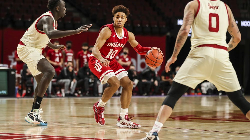 Junior guard Rob Phinisee drives during the game against the Nebraska Huskies on Sunday at Pinnacle Bank Arena in Lincoln, Nebraska. Phinisee finished with 18 points.
