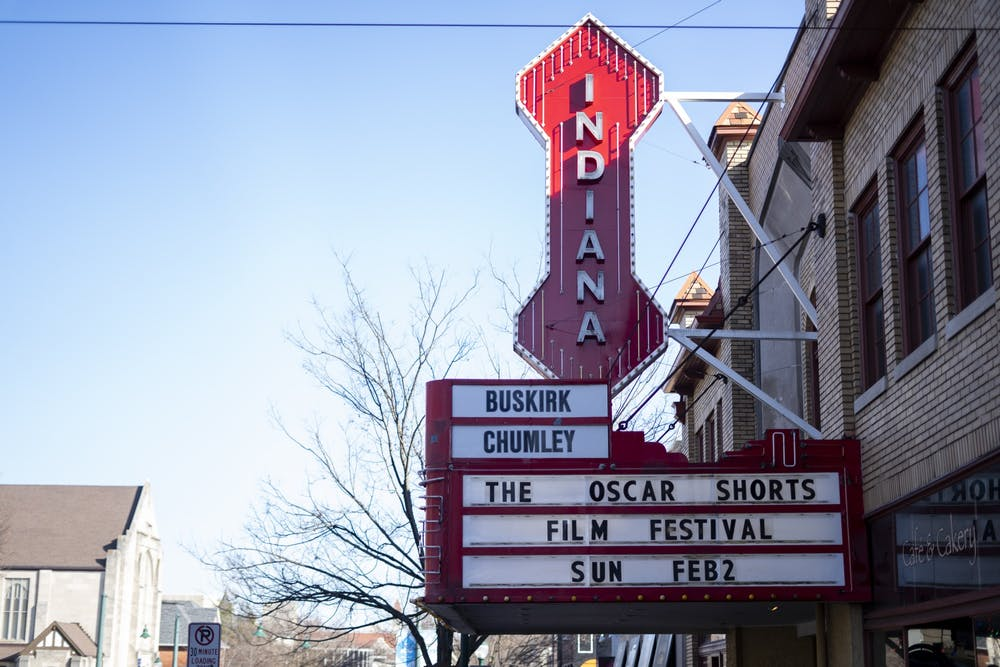 <p>A sign for the Oscar Shorts Film Festival hangs Jan. 26 outside Buskirk-Chumley Theater on 114 East Kirkwood Avenue. The film festival will premiere Feb.  2. </p>
