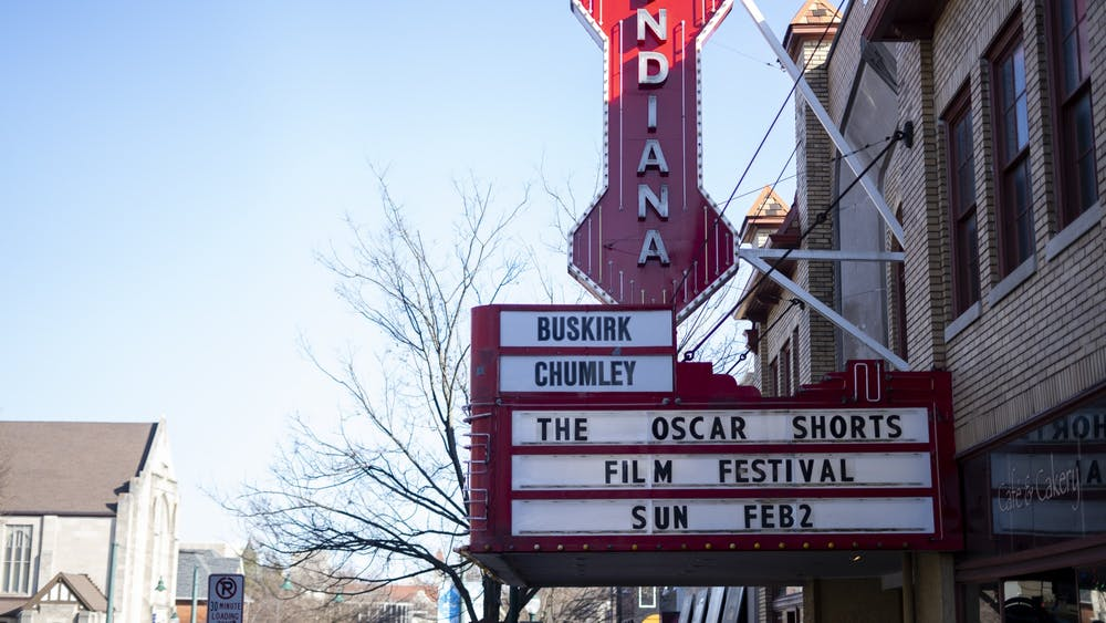 A sign for the Oscar Shorts Film Festival hangs Jan. 26 outside Buskirk-Chumley Theater on 114 East Kirkwood Avenue. The film festival will premiere Feb.  2.