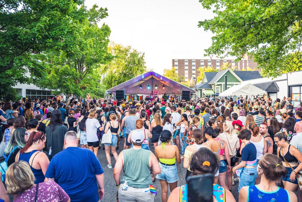 <p>The crowd at Pridefest watches drag performer Arachna perform Aug. 28, 2021, during one of the event&#x27;s two drag shows on Kirkwood Avenue in Bloomington. </p>