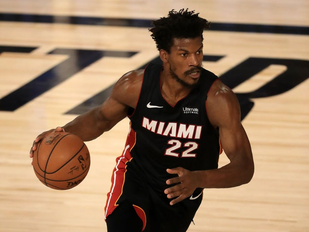 Jimmy Butler of the Miami Heat dribbles the ball during the first quarter against the Milwaukee Bucks in Game Three of the Eastern Conference Second Round on Sept. 4 at the ESPN Wide World Of Sports Complex on in Lake Buena Vista, Florida.