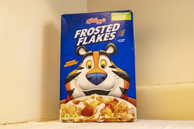 A box of Frosted Flakes sits on a countertop Jan. 14 in University East Apartments.
