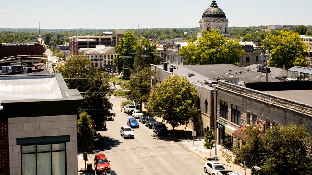A view of downtown Bloomington from the 7th and Walnut Street Parking Garage. The City of Bloomington is asking residents to use the number 812-349-3400 this weekend for any after-hours emergencies related to areas such as water, sewers and streets.