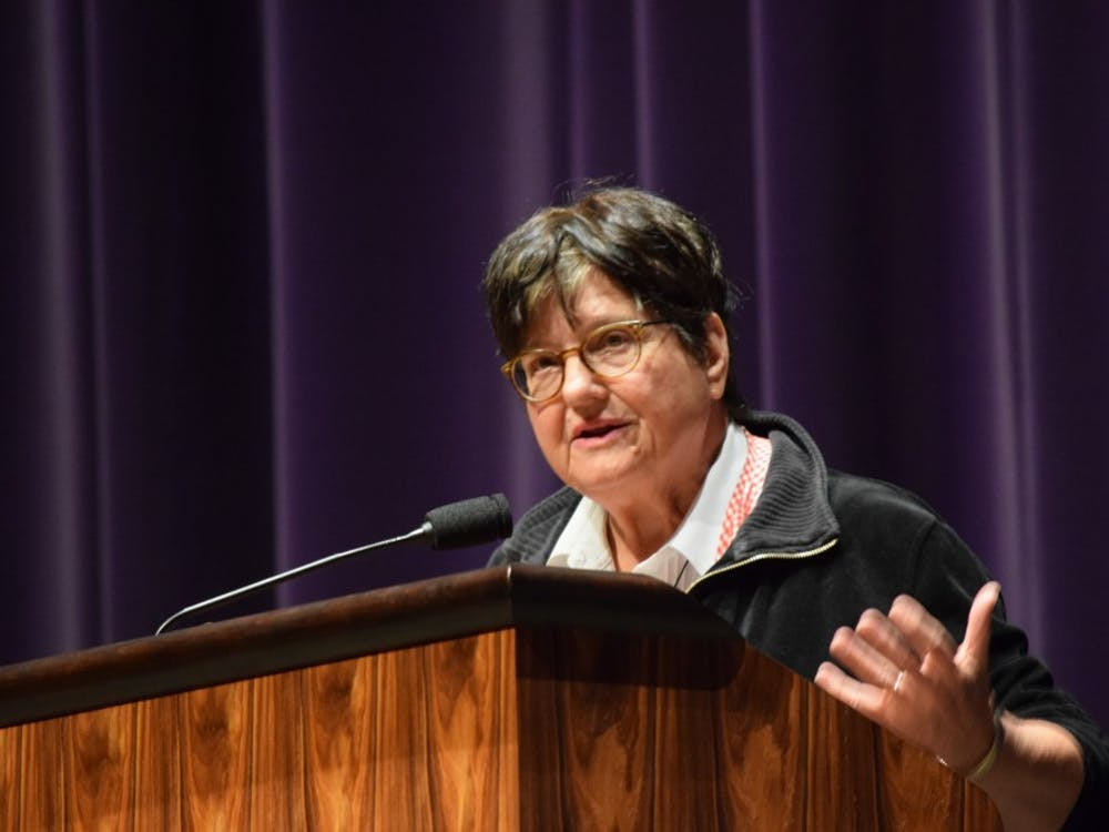 """Sister Helen Prejean, the author of """"Dead Man Walking: An Eyewitness Account of the Death Penalty,"""" speaks in a lectureon her book and her opinions on the death penalty in the MAC on Sunday."""
