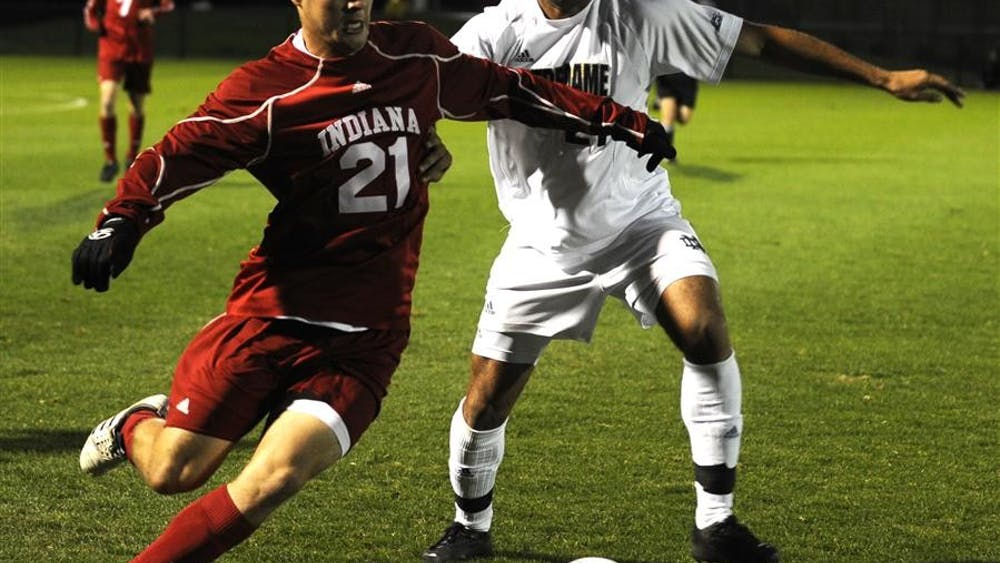 Junior Midfielder Daniel Kelly tries to break fast a Notre Dame player during IU's 3-0 victory Wednesday evening. IU next plays on Sunday at home against Michigan State, last year's Big Ten Tournament champions.