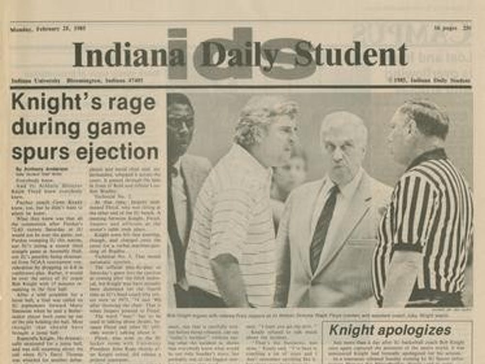 A scanned image of page 1 from the Feb. 23, 1985, edition of the Indiana Daily Student. Bob Knight was ejected by officials during the game for throwing a chair across the court.
