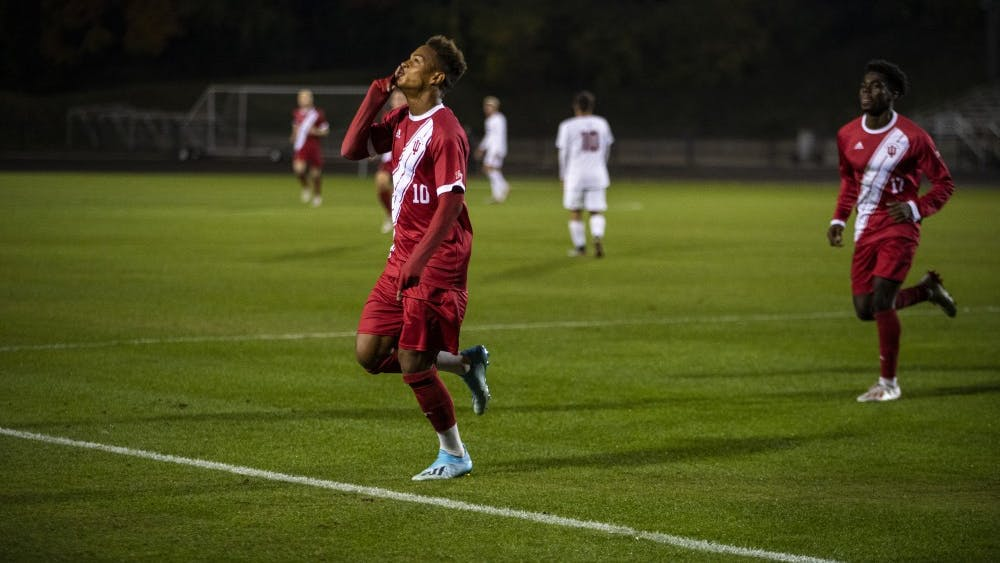 Senior Joris Ahlinvi celebrates after his second goal of the season Oct. 25 at Bill Armstrong Stadium. Ahlinvi scored IU's first goal against Rutgers University in 53 minutes.
