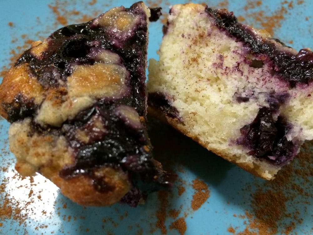 Blueberry muffins pair well with a cup of coffee.