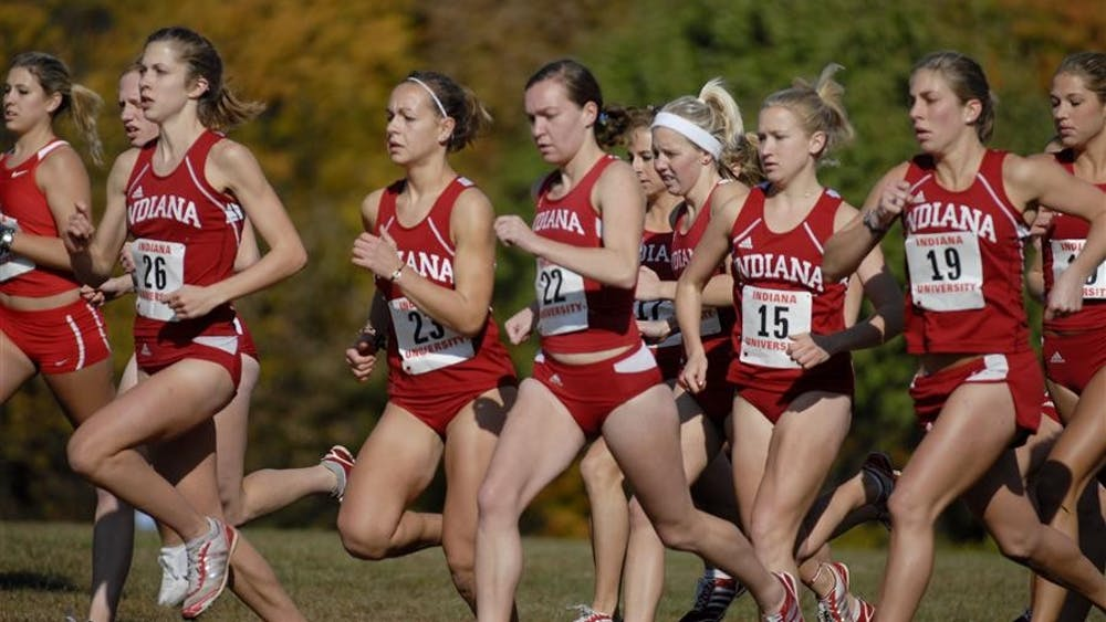 The women's cross country team takes off from the starting line Saturday, Oct. 17 at the Sam Bell Invitational. Both the men and women's teams finished first place overall.