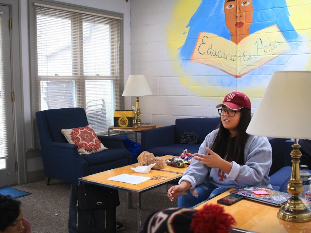 Junior Brenda Diaz talks fellow students through workshop plans in the La Casa Latino Cultural Center for the 20th annual Indiana Latino Leadership Conference. Diaz is the chair of the Latino Enhancement Cooperative, or the LEC.