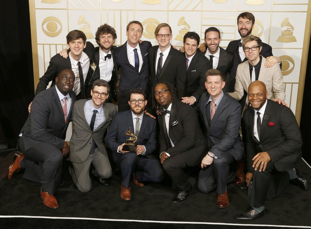 <p>Music groups Sylva, Snarky Puppy and Metropole Orkest pose backstage at the 58th Annual Grammy Awards on Feb. 15, 2016, at the Staples Center in Los Angeles.</p>