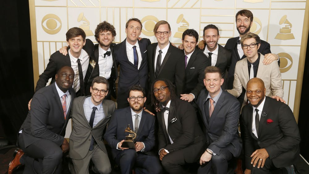 Music groups Sylva, Snarky Puppy and Metropole Orkest pose backstage at the 58th Annual Grammy Awards on Feb. 15, 2016, at the Staples Center in Los Angeles.