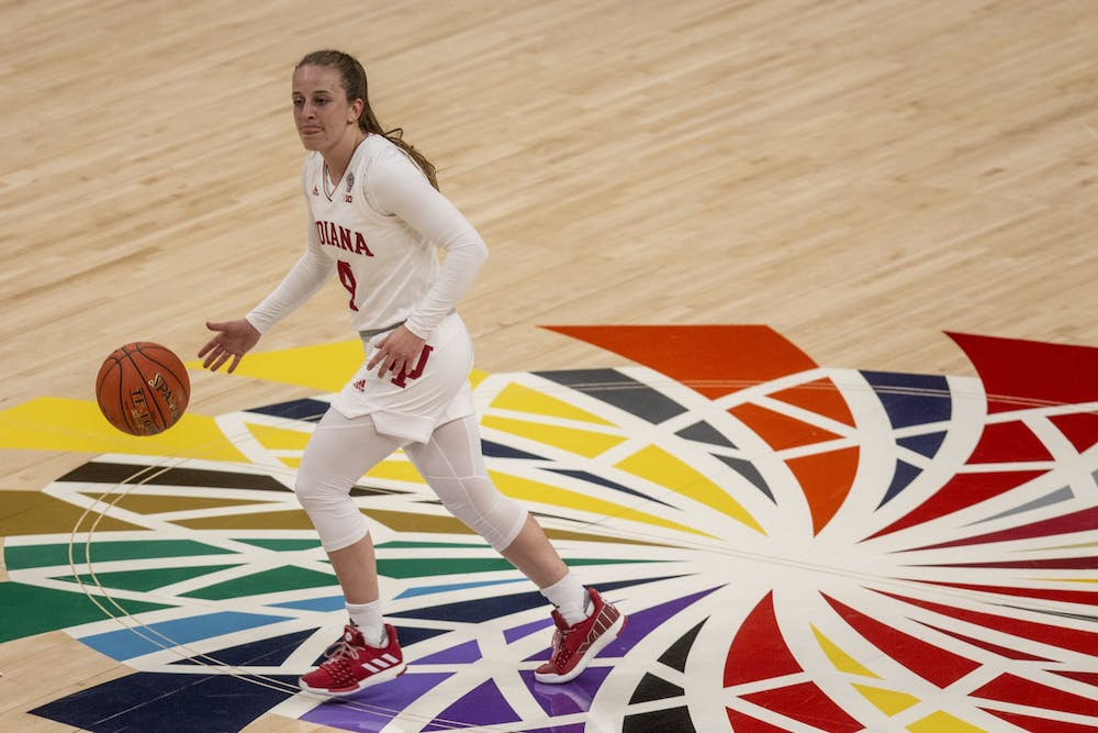 <p>Senior guard Nicole Cardaño-Hillary dribbles the ball across half court March 11 in the quarterfinals of the Big Ten women&#x27;s basketball tournament at Bankers Life Fieldhouse in Indianapolis. IU defeated Virginia Commonwealth University 63-32 Tuesday in San Antonio, Texas. </p>