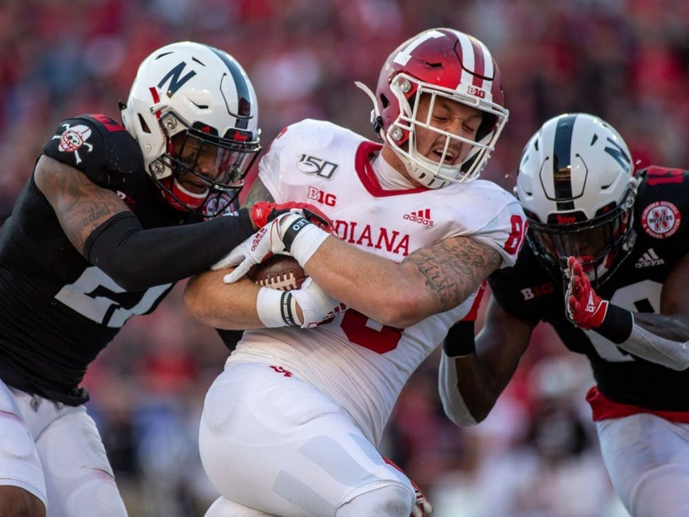 IU tight end Peyton Hendershot plays Oct. 26, 2019, at Memorial Stadium in Lincoln, Nebraska. Hendershot was arrested in February on multiple charges including domestic battery and was indefinitely suspended from all team activities.