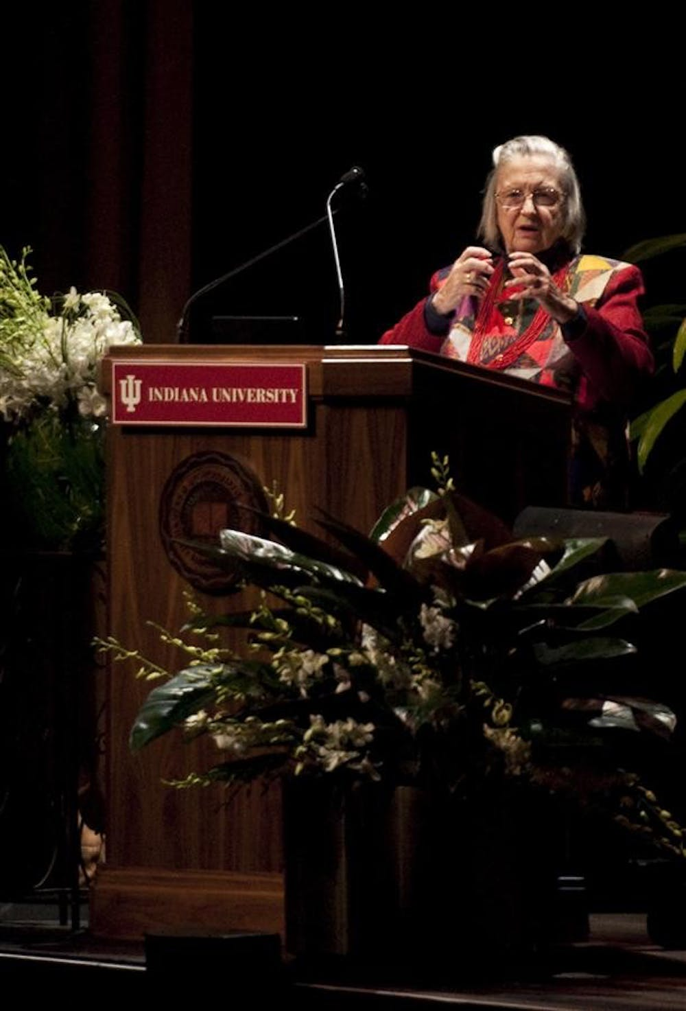 Distinguished Professor Elinor Ostrom presents an updated version of her Nobel Prize lecture to an audience Feb. 16, 2010, at the IU Auditorium in Bloomington, Ind. Ostrom is the University's eighth Nobel Prize recipient.