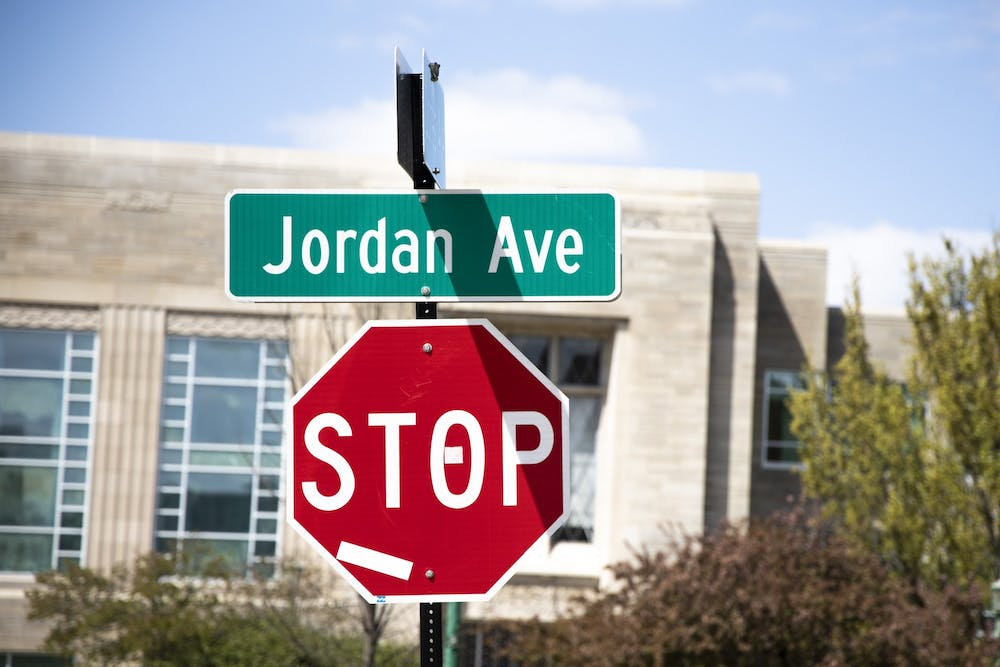<p>A street sign for Jordan Avenue is seen Thursday.<strong> </strong>Mayor John Hamilton is convening a task force with IU to begin the process of renaming Jordan Avenue, according to a City of Bloomington press release.</p>