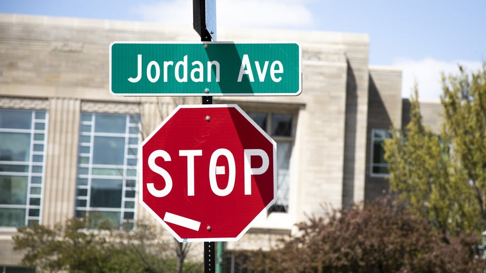 A street sign for Jordan Avenue is seen Thursday. Mayor John Hamilton is convening a task force with IU to begin the process of renaming Jordan Avenue, according to a City of Bloomington press release.