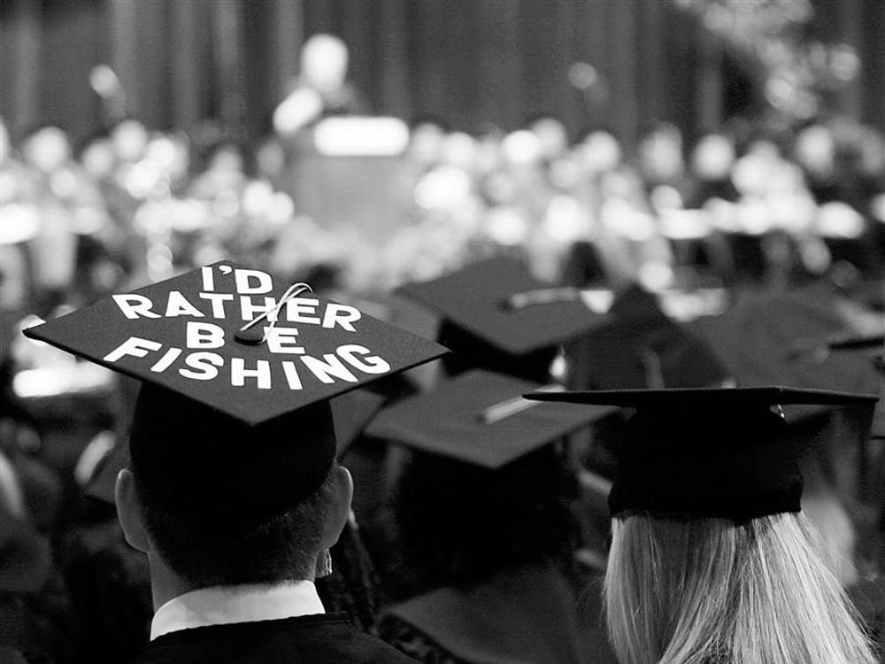 Members of the Class of 2006 found unique ways to stand out in the crowd of thousands during commencement exercises on Saturday, May 6, 2006, at Assembly Hall.