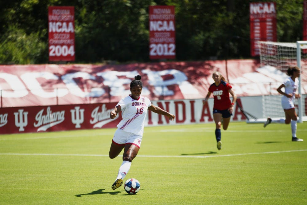 <p>Freshman Bria Telemaque prepares to kick the ball down the field Aug. 25 at Bill Armstrong Stadium. IU beat the University of Illinois at Chicago 1-0.</p>