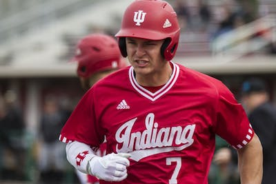 Then-sophomore Matt Gorski scores the second run for IU after a teammate hits a line drive out against Purdue during the 2018 season.