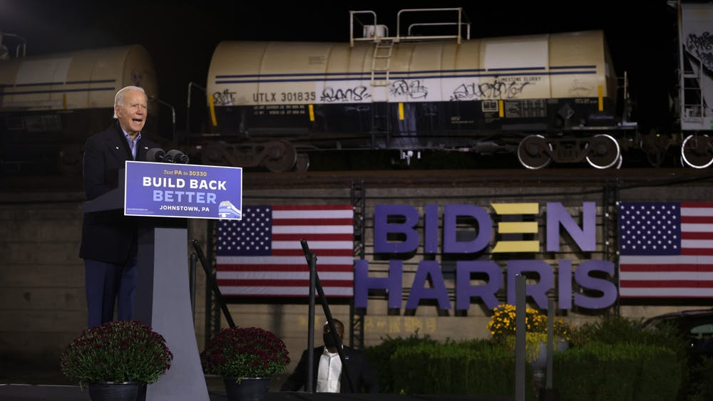 Democratic U.S. presidential nominee Joe Biden speaks during a campaign stop outside Johnstown Train Station on Sept. 30, 2020, in Johnstown, Pennsylvania.