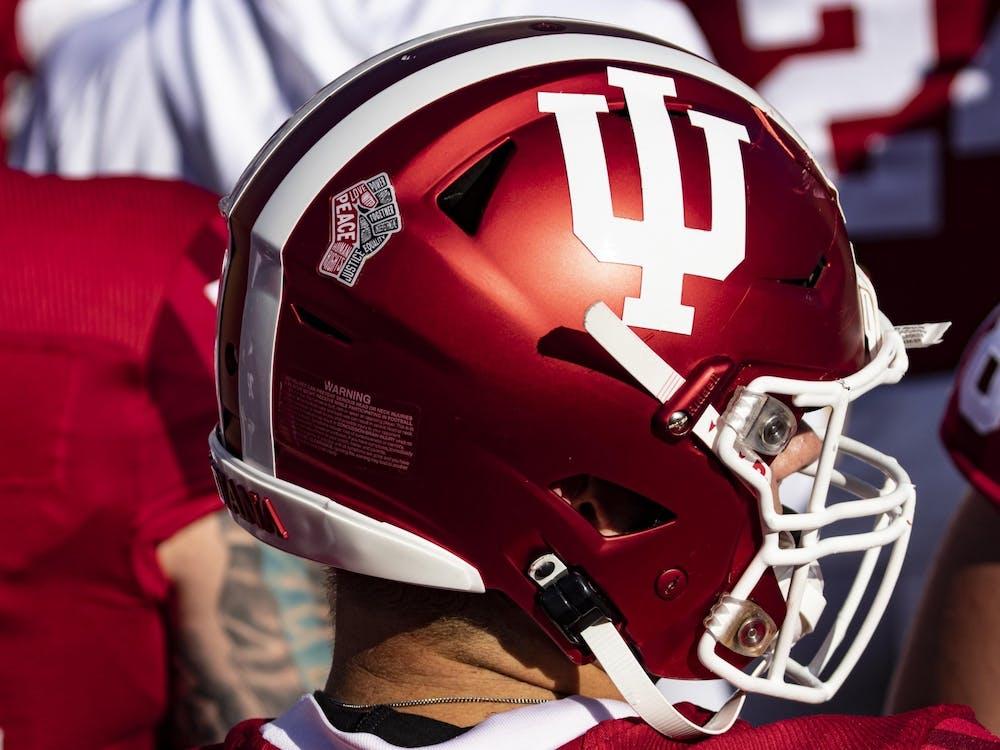 A Hoosier football player wears an IU helmet Oct. 24, 2020, in Memorial Stadium. The team will kick off its 2021 season on Sept. 24 in Iowa City, Iowa.