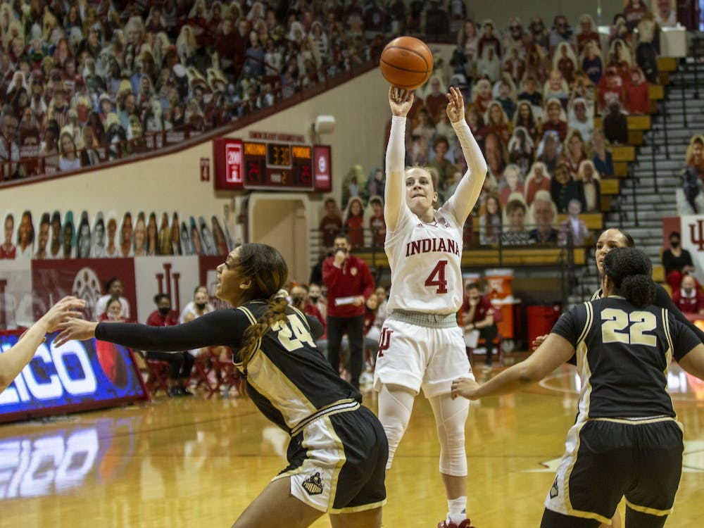Senior guard Nicole Cardaño-Hillary takes a shot Saturday at Simon Skjodt Assembly Hall. No. 10 IU led Purdue 34-39 at halftime.