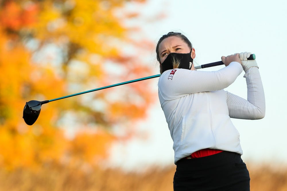 <p>Sophomore Valerie Clancy hits the ball during practice Oct. 7, 2020. The IU women&#x27;s golf team will compete in the Indiana Spring Challenge on Sunday and Monday in Sellersburg, Indiana. </p>