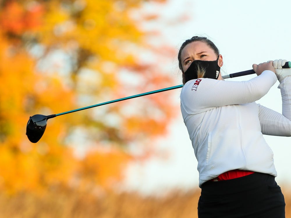 Sophomore Valerie Clancy hits the ball during practice Oct. 7, 2020. The IU women's golf team will compete in the Indiana Spring Challenge on Sunday and Monday in Sellersburg, Indiana.