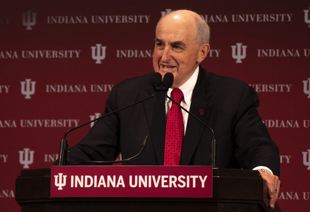 <p>IU President Michael McRobbie talks to the audience at the annual State of the University address. The virtual launch of &quot;Windows on Worlds: International Collections at Indiana University&quot; organized by president McRobbie and his wife Laurie Burns McRobbie will start at 4 p.m. on June 23.</p>