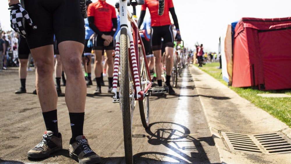Riders line up before the men's Little 500 race April 13, 2019, at Bill Armstrong Stadium. IU announced that virtual men's and women's races open to the public will take place May 23.