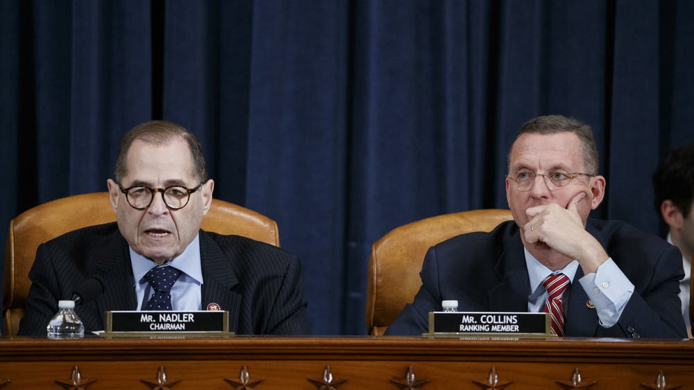 U.S. House Judiciary Committee Chairman Jerry Nadler, D-NY, with ranking member Doug Collins, R-GA, delivers opening remarks during the committee's markup of the articles of impeachment against President Donald Trump on Dec. 11 at Capitol Hill in Washington, D.C.