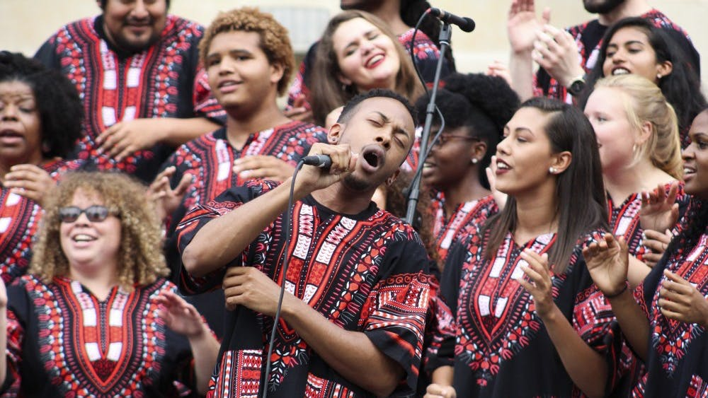 The African American Choral Ensemble performs as part of the First Thursdays Festival on Feb.11 at the Fine Arts Plaza. The group will present its annual spring concert at 7:30 p.m. Saturday at the Buskirk-Chumley Theater.