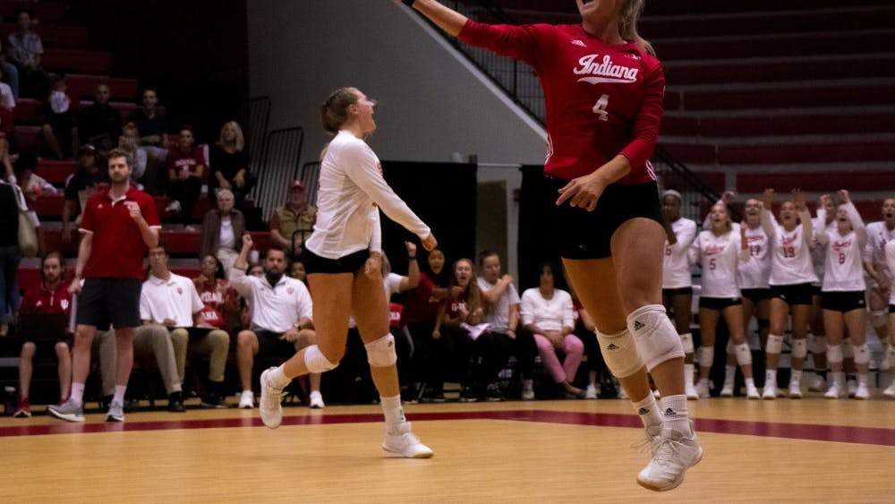 Junior Bayli Lebo celebrates a point against Yale University on Sept. 8 at Wilkinson Hall. IU volleyball lost to No. 13 Wisconsin on Sunday in four sets.