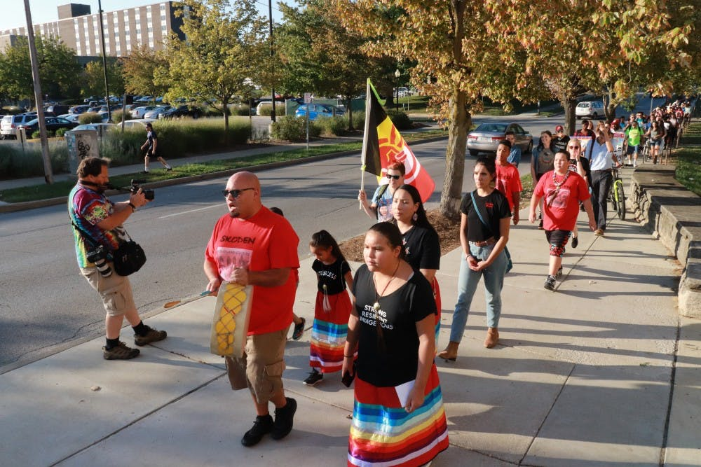 <p>IU students celebrate Oct. 8, 2018, for Indiana's first Indigenous Peoples Day. The Indigenous Peoples Day march started at 5:30 p.m. in Dunn Meadow.</p>