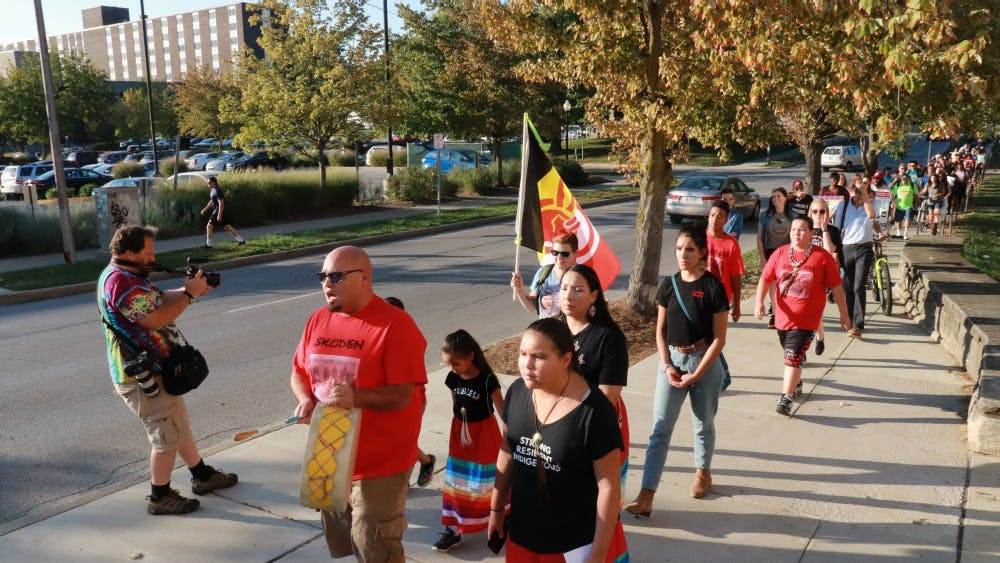 IU students celebrate Oct. 8, 2018, for Indiana's first Indigenous Peoples Day. The Indigenous Peoples Day march started at 5:30 p.m. in Dunn Meadow.