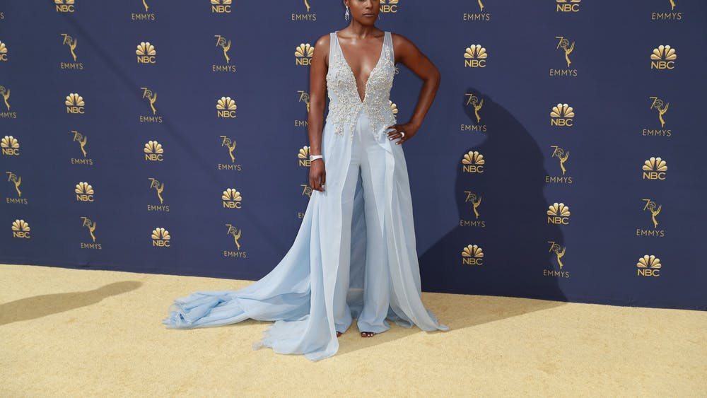 Issa Rae arrives at the 70th Primetime Emmy Awards on Sept. 17, 2018, at the Microsoft Theater in Los Angeles.