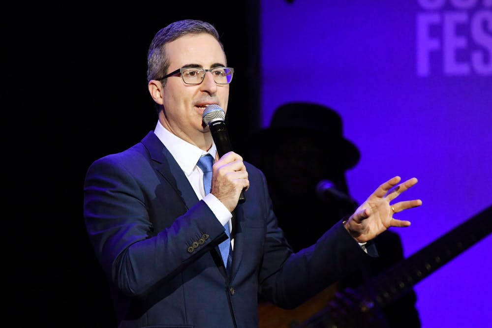 <p>Comedian John Oliver performs Nov. 4, 2019, during the 13th annual Stand Up for Heroes to benefit the Bob Woodruff Foundation at the Hulu Theater at Madison Square Garden in New York City. </p>