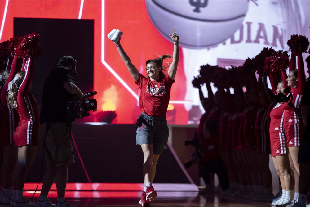 Senior Brenna Wise dances as she is introduced Oct. 5 at Hoosier Hysteria in Simon Skjodt Assembly Hall.