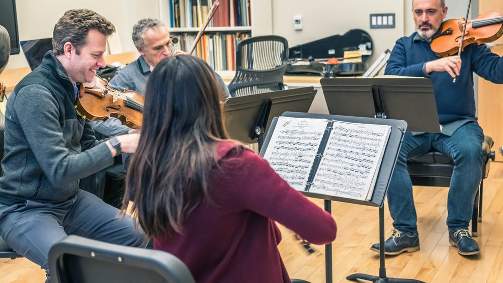 The Pacifica Quartet practices Jan. 29 at the Jacobs School of Music. The quartet consists of two violins, one viola and a cello.CORRECTION: A previous version of this caption mislabeled an instrument in the orchestra. The IDS regrets this error.