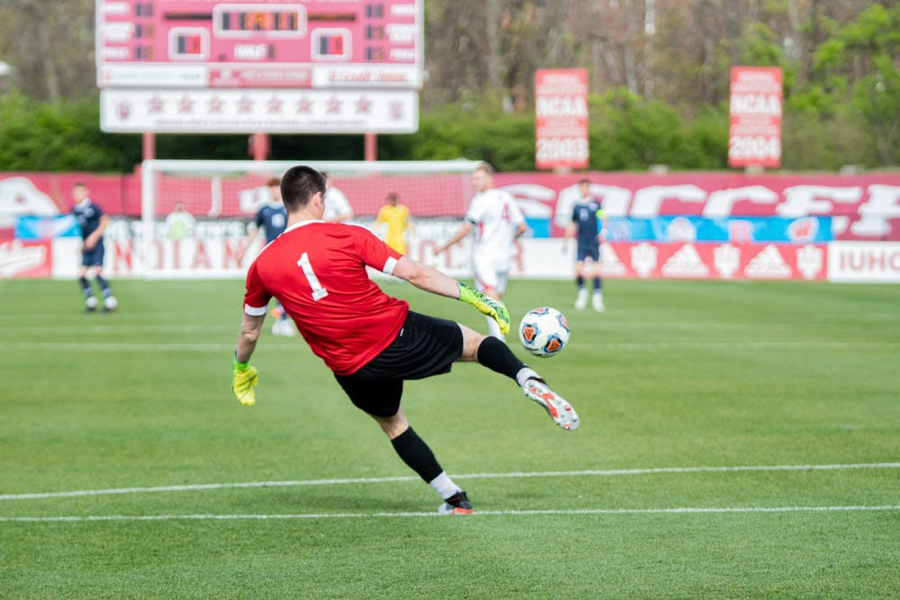 <p>Sophomore goalkeeper Roman Celentano kicks the ball against Penn State in the Big Ten Men's Soccer Tournament Championship on April 17. Celentano had offers from several other schools, including an opportunity to play at Loyola University Chicago, but he said he fell in love with IU&#x27;s program. </p>