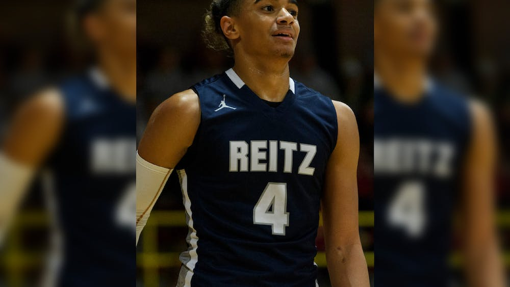 Reitz's Khristian Lander takes on the Mater Dei Wildcats at Mater Dei High School in Evansville, Indiana, Friday, Dec. 13, 2019. The Panthers made a huge comeback in the fourth quarter to defeat the Wildcats, 79-73.