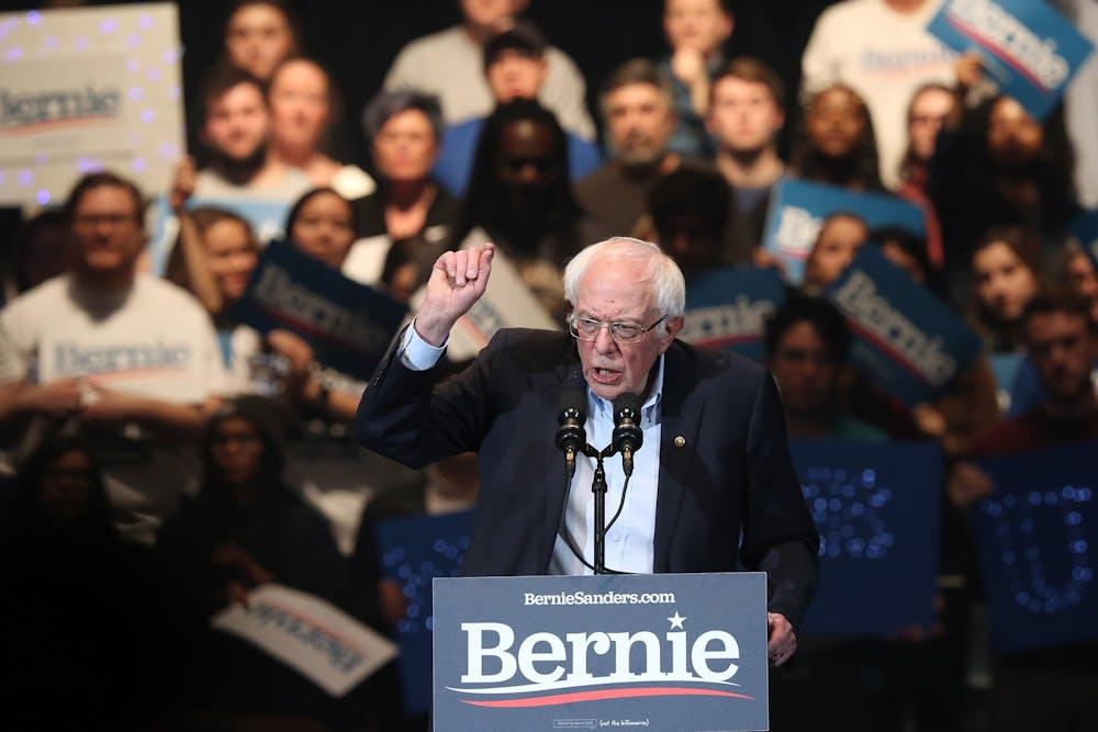 <p>Sen. Bernie Sanders, D-VT., speaks at a campaign event Feb. 1 leading up to the Iowa Caucuses at U.S. Cellular Center in Cedar Rapids, Iowa.</p>