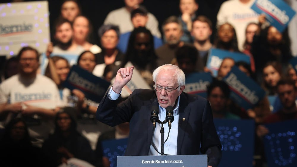 Sen. Bernie Sanders, D-VT., speaks at a campaign event Feb. 1 leading up to the Iowa Caucuses at U.S. Cellular Center in Cedar Rapids, Iowa.